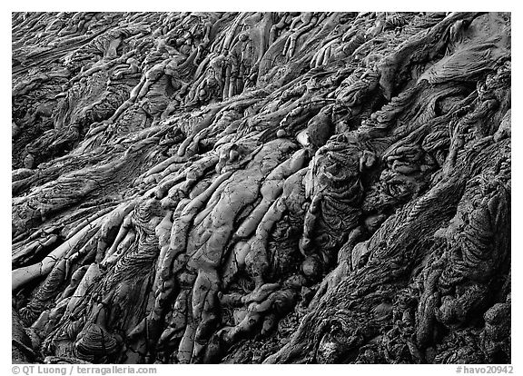 Ripples of hardened pahoehoe lava. Hawaii Volcanoes National Park (black and white)