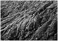 Ripples of hardened pahoehoe lava. Hawaii Volcanoes National Park, Hawaii, USA. (black and white)