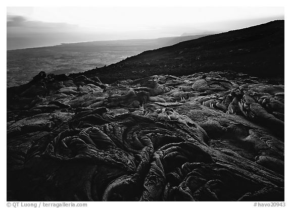 Hardened lava flow, coast in the distance. Hawaii Volcanoes National Park (black and white)