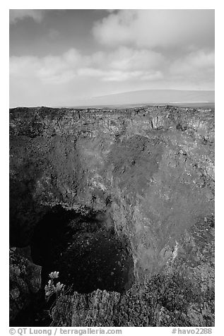 Mauna Ulu crater. Hawaii Volcanoes National Park (black and white)
