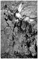 Lava crust on Mauna Ulu crater. Hawaii Volcanoes National Park ( black and white)