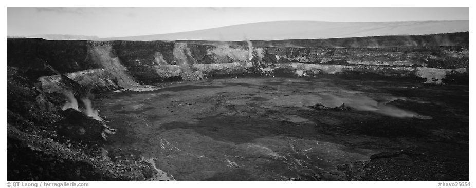 Volcanic crater and extinct shield volcano. Hawaii Volcanoes National Park (black and white)