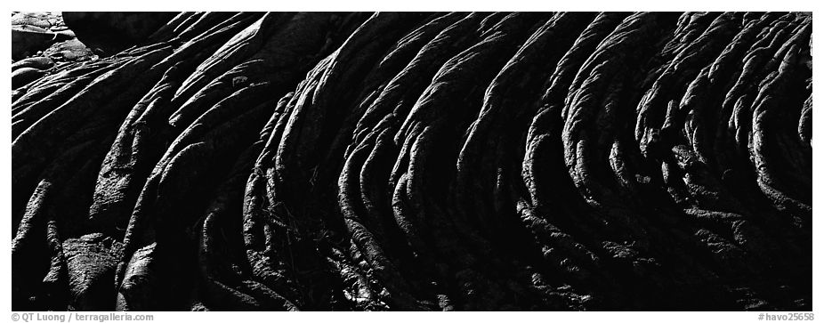 Hardened rope lava riples. Hawaii Volcanoes National Park (black and white)
