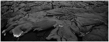 Live lava flow. Hawaii Volcanoes National Park (Panoramic black and white)