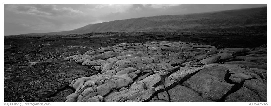 Volcanic scenery with  recent lava flow. Hawaii Volcanoes National Park (black and white)