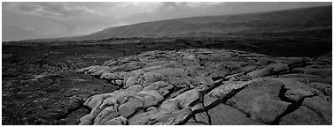 Volcanic scenery with  recent lava flow. Hawaii Volcanoes National Park (Panoramic black and white)