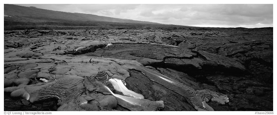 Volcanic landscape with molten lava low. Hawaii Volcanoes National Park (black and white)
