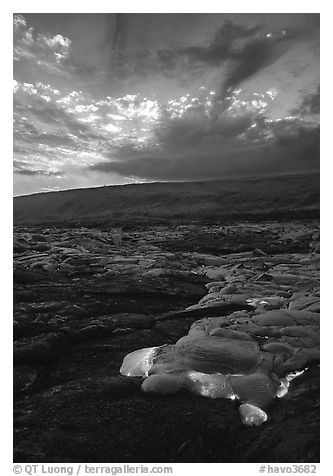 Kilauea lava flow at sunset. Hawaii Volcanoes National Park (black and white)