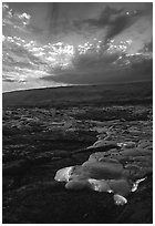 Kilauea lava flow at sunset. Hawaii Volcanoes National Park, Hawaii, USA. (black and white)