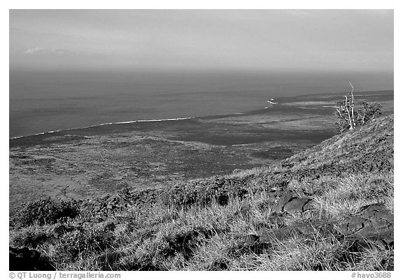 View of the coastal plain from Hilana Pali. Hawaii Volcanoes National Park (black and white)