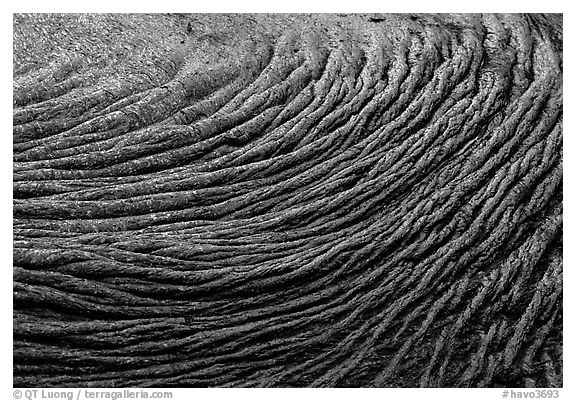 Swirling pattern of flowing pahoehoe lava. Hawaii Volcanoes National Park (black and white)