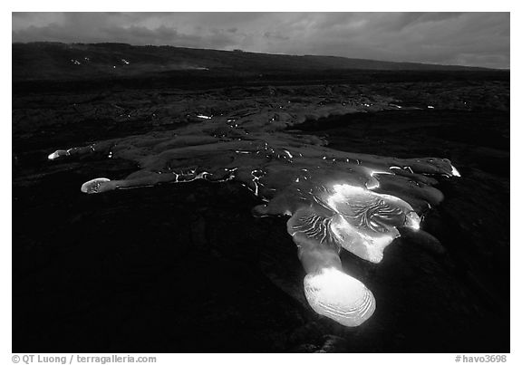 Kilauea lava flow at dawn. Hawaii Volcanoes National Park (black and white)