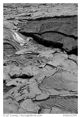 Lava flow. Hawaii Volcanoes National Park (black and white)