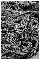 Braids of flowing pahoehoe lava. Hawaii Volcanoes National Park, Hawaii, USA. (black and white)