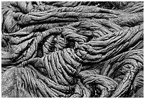 Braid-like pattern of pahoehoe lava. Hawaii Volcanoes National Park, Hawaii, USA. (black and white)