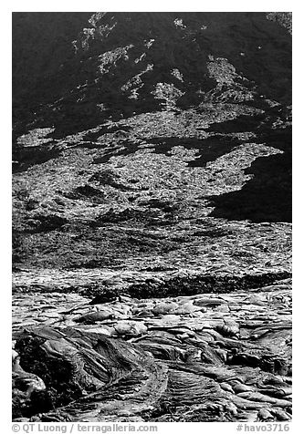 Volcanic landform of recently hardened lava flow at  base of Holei Pali. Hawaii Volcanoes National Park (black and white)