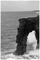 Holei Sea Arch in the morning. Hawaii Volcanoes National Park, Hawaii, USA. (black and white)