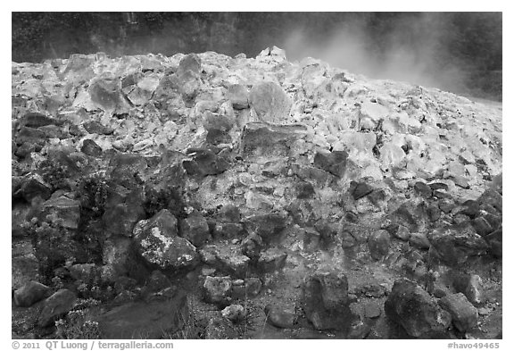 Mound of rocks covered with sulphur from vent. Hawaii Volcanoes National Park, Hawaii, USA.
