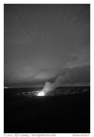Active volcano crater at dusk, Kilauea summit. Hawaii Volcanoes National Park (black and white)