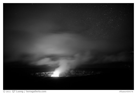 Incandescent illumination of venting gases, Halemaumau crater. Hawaii Volcanoes National Park (black and white)