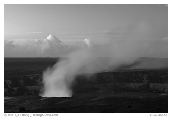 Halemaumau plume with glow from lava lake. Hawaii Volcanoes National Park (black and white)