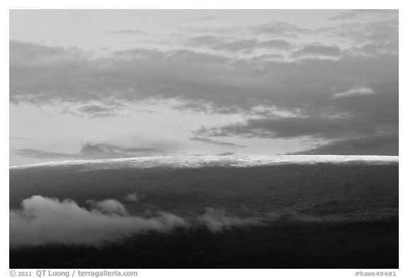 Snow on top of Mauna Loa. Hawaii Volcanoes National Park (black and white)