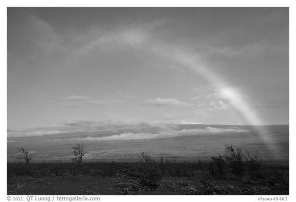 Rainbow and Mauna Loa. Hawaii Volcanoes National Park (black and white)