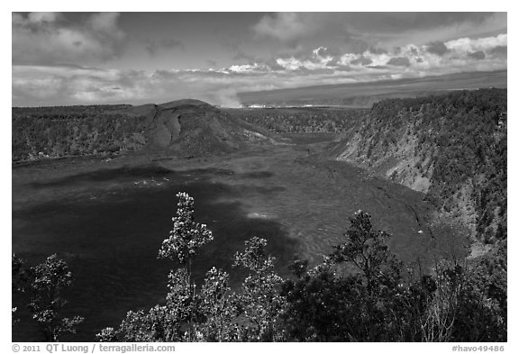 Kilauea Iki Crater. Hawaii Volcanoes National Park (black and white)