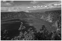 Kilauea Iki Crater. Hawaii Volcanoes National Park ( black and white)