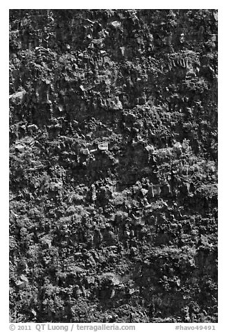 Crater vertical walls. Hawaii Volcanoes National Park (black and white)