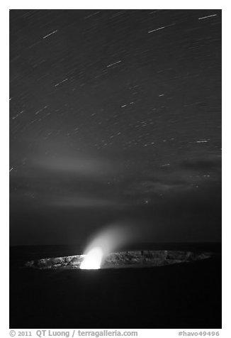 Glowing vent and star trails, Halemaumau crater. Hawaii Volcanoes National Park (black and white)