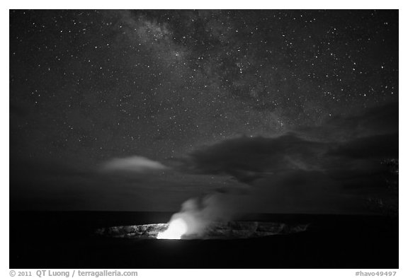 Glowing crater, plume, and Milky Way, Kilauea summit. Hawaii Volcanoes National Park (black and white)