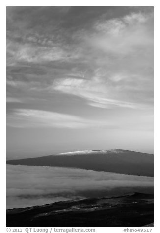 Snowcapped Mauna Loa at sunrise. Hawaii Volcanoes National Park (black and white)
