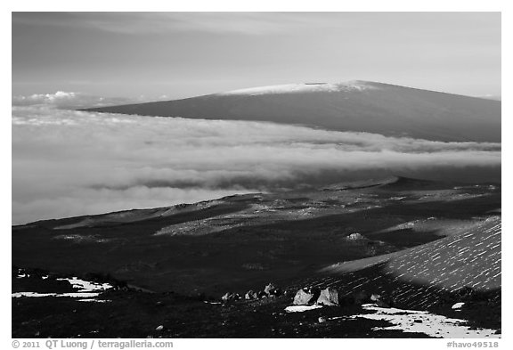 Mauna Loa seen from Mauna Kea. Hawaii Volcanoes National Park (black and white)