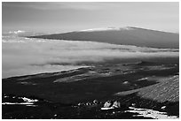 Mauna Loa seen from Mauna Kea. Hawaii Volcanoes National Park, Hawaii, USA. (black and white)