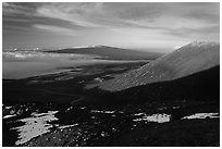 Mauna Loa from Mauna Kea summit. Hawaii Volcanoes National Park, Hawaii, USA. (black and white)