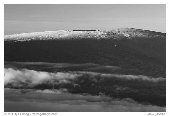 Snow on Mauna Loa summit. Hawaii Volcanoes National Park (black and white)