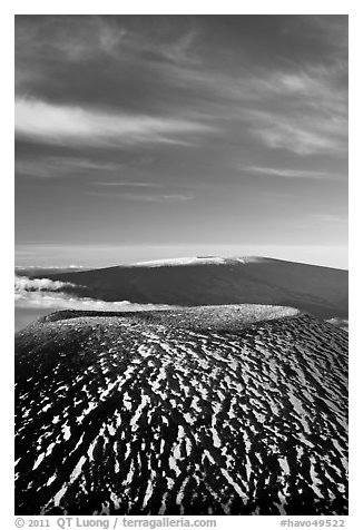 Mauna Kea cinder cone and Mauna Loa. Hawaii Volcanoes National Park (black and white)