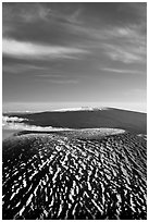 Mauna Kea cinder cone and Mauna Loa. Hawaii Volcanoes National Park, Hawaii, USA. (black and white)
