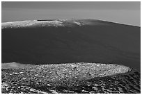 Craters on cinder cone and Mauna Loa. Hawaii Volcanoes National Park, Hawaii, USA. (black and white)