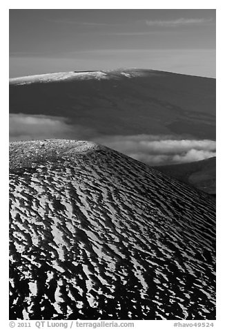 Snowy cinder cone and Mauna Loa summit. Hawaii Volcanoes National Park (black and white)