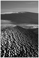 Snowy cinder cone and Mauna Loa summit. Hawaii Volcanoes National Park, Hawaii, USA. (black and white)