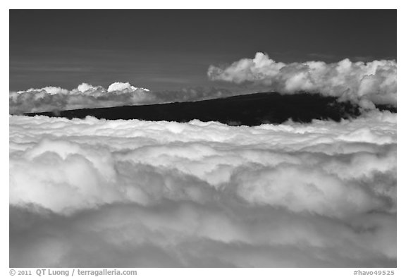 Mauna Loa emerging above clouds. Hawaii Volcanoes National Park (black and white)