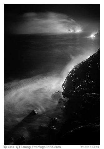 Lava ocean entry at night. Hawaii Volcanoes National Park (black and white)