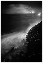 Lava ocean entry at night. Hawaii Volcanoes National Park, Hawaii, USA. (black and white)