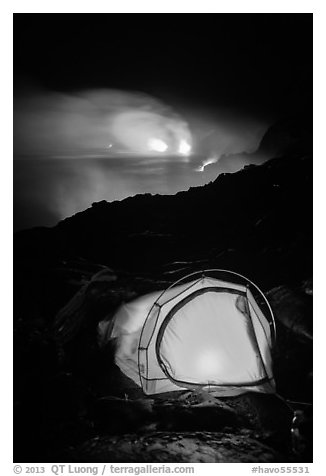 Camping by lava flow next to ocean. Hawaii Volcanoes National Park (black and white)
