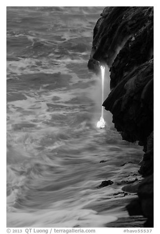 Lava spigot at dawn. Hawaii Volcanoes National Park (black and white)