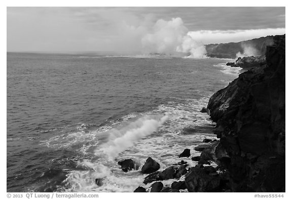 Coastline with lava ocean entries, morning. Hawaii Volcanoes National Park (black and white)