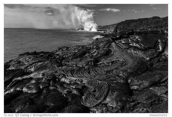 Molten lava flow at the coast. Hawaii Volcanoes National Park (black and white)