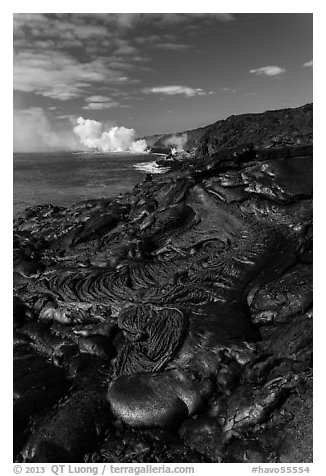 New coastal lava flow. Hawaii Volcanoes National Park (black and white)